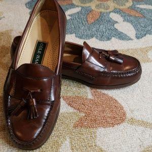 Cole Haan brown loafers 9.5 EEE wide slip ons